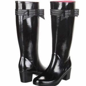 EUC Kate Spade Randi Too black bow rain boots 9